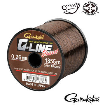 Fir de crap GAMAKATSU FIR G-LINE ELEMENT DARK BROWN 026MM.5,10KG.1855M