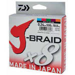 Fir pentru rapitori DAIWA FIR J-BRAID X8 MULTICOLOR 020MM/13KG/150M
