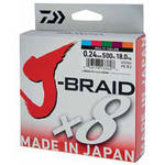 Fir pentru rapitori DAIWA J-BRAID X8 MULTICOLOR 006MM/4KG/150M